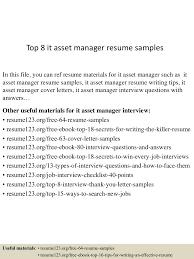 It Asset Management Resume Sample Resume Online Builder