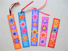 colorful paper flower bookmarks