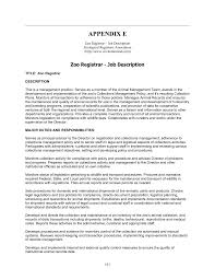 E Zoo Registrar Job Description | Animal Care and Management at the ...