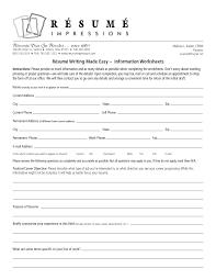 Resume Worksheet Blank Template For Highchooltudents Free Resumes
