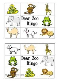 bingo about dear zoo book characters esl worksheets