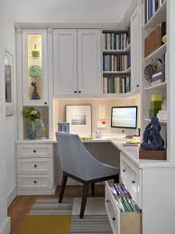 decoration: Cute Interior For Small Office Designs With L Shape Study Table  With Drawers Also