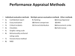 performance appraisal l  take corrective action if necessary 9 performance appraisal methods • individual evaluation