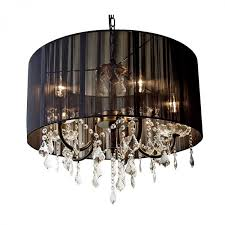 black pleated shade glass chandelier