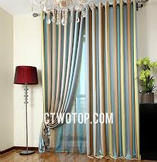 shabby chic funky bedroom teal brown gray and olive green striped curtains