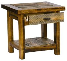 wood end table with drawers rustic wood end table w drawer contoured aspen tables throughout prepare wood end table with drawers