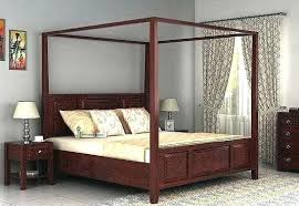Cherry Wood Canopy Bed Poster Without Storage Queen Size Mahogany ...