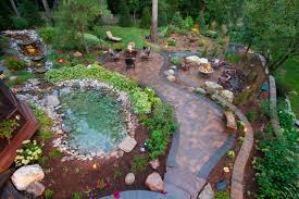 backyard landscaping design. Modren Landscaping Enchanting Cottage Backyard With Paver Patio Walkway Natural Rock Pond And  Cozy Sitting Areas Throughout Landscaping Design