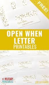 Free Confetti Open When Letters Printable
