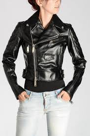 dsquared2 icon leather cropped biker jacket dsquared2 jackets black jackets women dsquared2 oz58