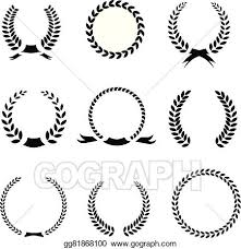 Vector Clipart Set Of Black And White Silhouette Circular Laurel
