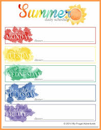 Summer Daily Schedule Template Summer Schedule For Children Ideas Projects Free Printable My