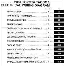 2004 toyota tacoma pickup wiring diagram manual original covers all 2004 toyota tacoma models including prerunner s runner and limited also lists the 2 wheel and 4 wheel drive models