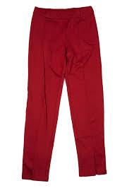 A L C Womens Red Cotton Blend Slim Fit Slit Leg Pants