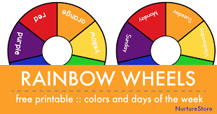 This color wheel can be used to find out whether two colors can match well. Printable Rainbow Days Of The Week And Color Wheels Nurturestore