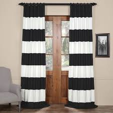 black and off white 50 x 96 inch horizontal stripe curtain