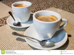 two coffee cups with coffee. Plain Coffee Stilllife Composition Two Coffee Cups White Serving Plates S To Two Coffee Cups With F