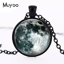 whole new hot full moon pendant necklace unique space planet jewelry art photo moon necklace accessory romantic gift for hz1 diamond necklace