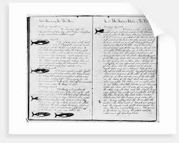 log book pages from whaling ship by corbis