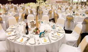 round tables work very well and are a very sociable way of setting up your reception so that