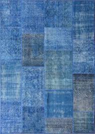 rugsville vintage turkish over dyed patchwork mazzarine blue rug 11079 11079