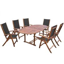 Details about 7pcs outdoor dining set wood folded garden chairs set oval extendable table yard