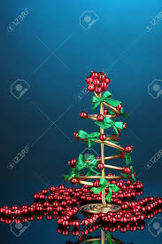 stock photo wire christmas tree with beads on blue background christmas d90