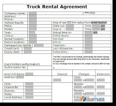 Truck Rental Hire Agreement Template