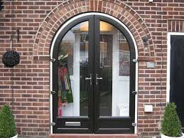 black upvc arched double doors more