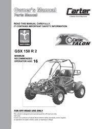 carter brothers manuals carter talon gsx 150 parts user manual