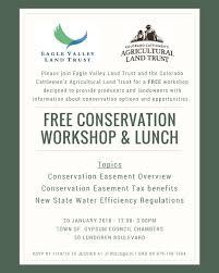 Free Conservation Workshop Lunch Flier Eagle Valley Land