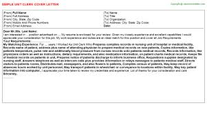 Unit Clerk Cover Letter Unit Clerk Job Cover Letter