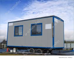 small portable office. Office Architecture: A Small Portable On Wheels At Construction Site Warm
