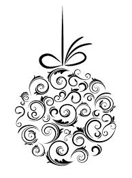 Christmas ornament black and white xmas tree ornament clipart ...