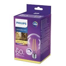 Philips Led Classic E27 Edison Screw G93 Dimmable Clear Filament Globe Light Bulb 7 W 60 W Warm White