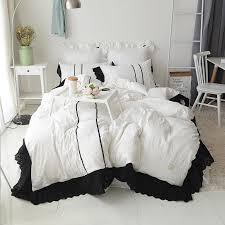 luxury pure white color black lace home cotton bedding set king queen size princess korean ruffle bedskirt duvetcover pillowcase flannel duvet cover purple