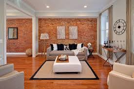red accent wall living room design. eclectic living room with masterful use of the brick accent wall grey red design