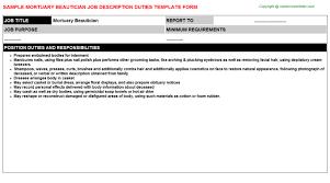 Mortuary Beautician Job Description | Careers Job Descriptions ...