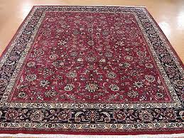persian mashad hand knotted wool plum red navy fine oriental rug carpet 10 x 13