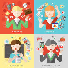 Flat Design Of Business People Jobs And Marketing Professions