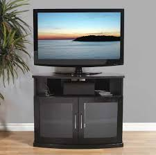 view a larger image of the plateau newport series corner wood tv cabinet with glass doors