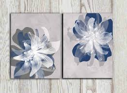 zoom on large blue flower wall art with navy blue gray flower wall art prints large poster print