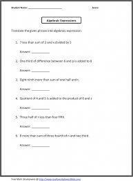 Grade Free Algebraic Expressions Worksheets 6th Grade Austsecure ...
