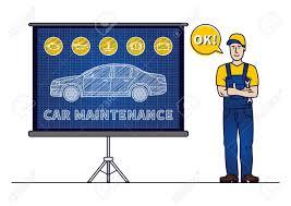 Car Maintenance Chart Serviceman With Car Maintenance Chart Board Vector Illustration