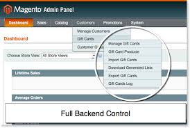 managing backend in gift card magento extension