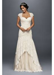 tiered lace mermaid wedding dress with beading david s bridal