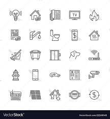 Public Utilities Flat Line Icons Rent Receipt