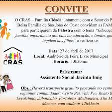 We did not find results for: Cras E Setor Do Bolsa Familia Preparam Palestra Para O Dia 27 De Abril Municipio De Sao Joao Do Oeste