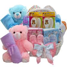 double the fun twin new baby gift basket pink s or blue boys gift baskets from art of appreciation