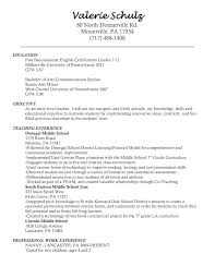 Cover Letter Resume Help Objective With For Substitute Teacher